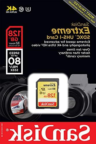 SanDisk U3/UHS-I SDXC with Ultra HD, up Read;