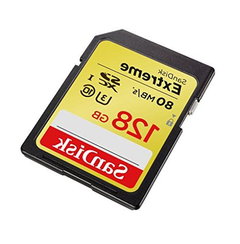 SanDisk Extreme 128GB SDXC HD, Read; 60MB/s Write-