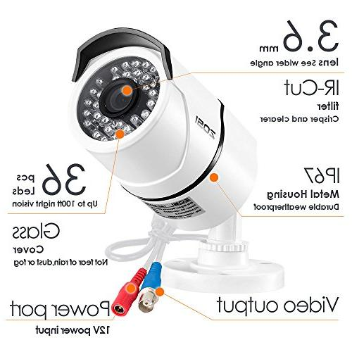 ZOSI 4 HD-TVI 1280TVL Weatherproof Cameras Up to 100FT
