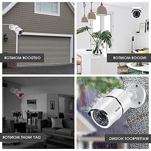 ZOSI 4 1280TVL Weatherproof Security Cameras KitNight to 100FT