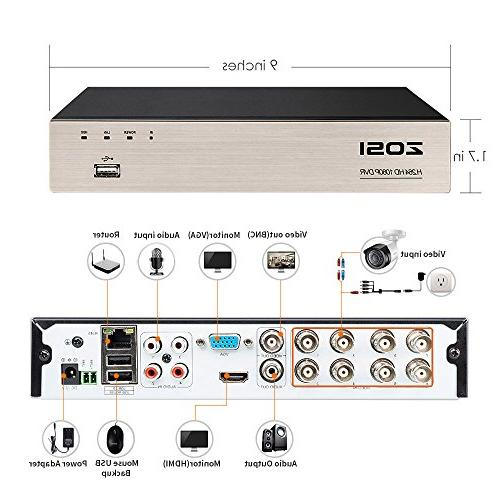 ZOSI System Full 1080P 4X 1920TVL Indoor Outdoor Cameras Alert, Smartphone, Remote