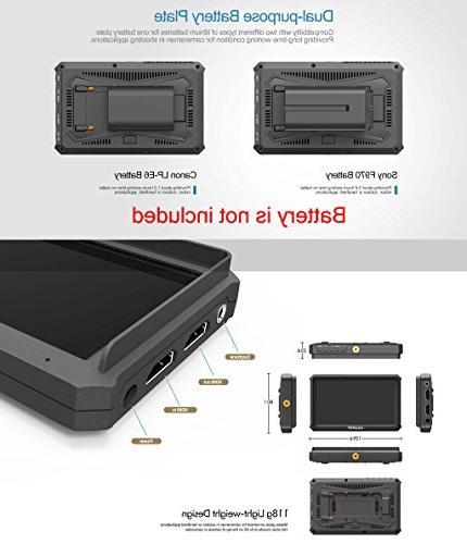 Lilliput 1920x1080 HD 441ppi DSLR Camera Monitor HDMI Output with Nikon A7S III A9 Panasonic GH5 Zhiyun M TILTA Ronin-S