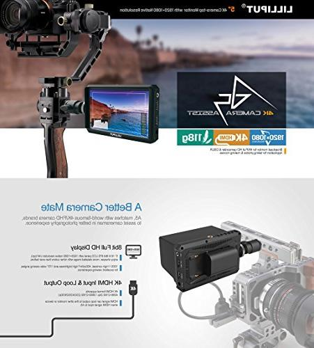 Lilliput 5 inch 1920x1080 HD DSLR Screen Camera Monitor 4K HDMI Output Compatible with Canon Nikon A7 A7S A9 Zhiyun M TILTA