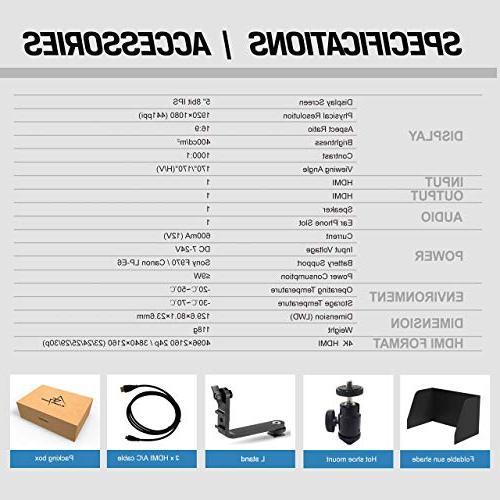 1920x1080 HD DSLR Screen Camera Field Monitor Output Compatible with Nikon Zhiyun Crane TILTA