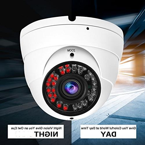 Hykamic CCTV Camera HD 4-in-1 Dome Camera, 2.8mm-12mm Lens, Day & Night Monitoring IP66