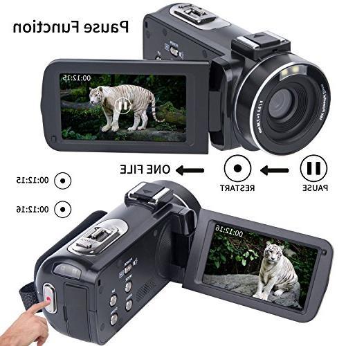 Video Camcorder SOSUN HD 1080P 24.0MP Inch 270 Rotatable Screen 16X Digital Zoom Recorder 2 Batteries