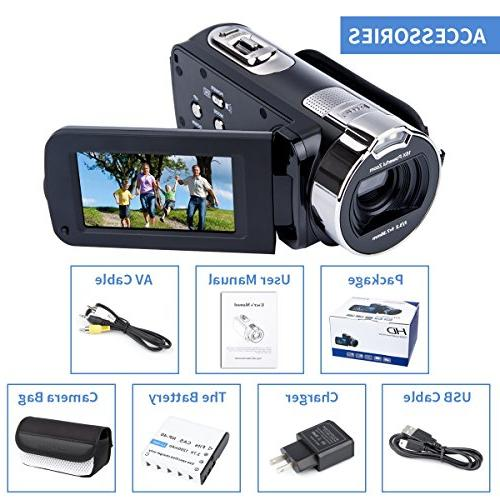 Digital Camera HD MP Digital Inch 270 Degree Rotation Camera Bag Battery