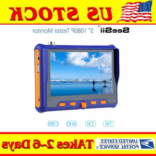 "5"" CCTV Tester Monitor LCD TFT Screen 4in1 TVI CVI AHD VGA C"