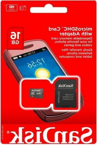 SANDISK 16GB Micro SD Card MicroSD SD SDHC TF Flash Memory C