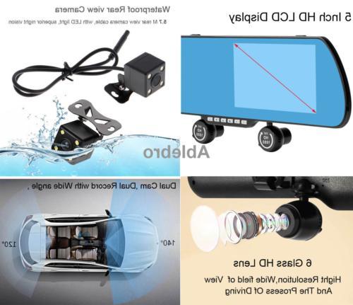 "Dash Cam DVR 5.0"" Rear View Mirror Three Recorder With"