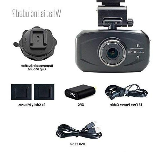 WheelWitness HD Premium Cam GPS - HD - 170° Wide Lens Vision Dashboard for 12V Cars Trucks
