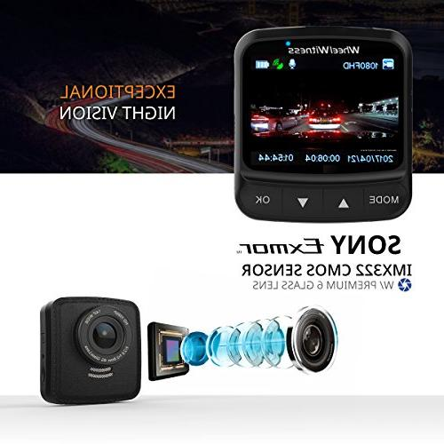 WheelWitness Dash Cam HD PRO - - Dash Camera for Cars & GPS, Sony DVR, Dual USB G + Free 16GB SD