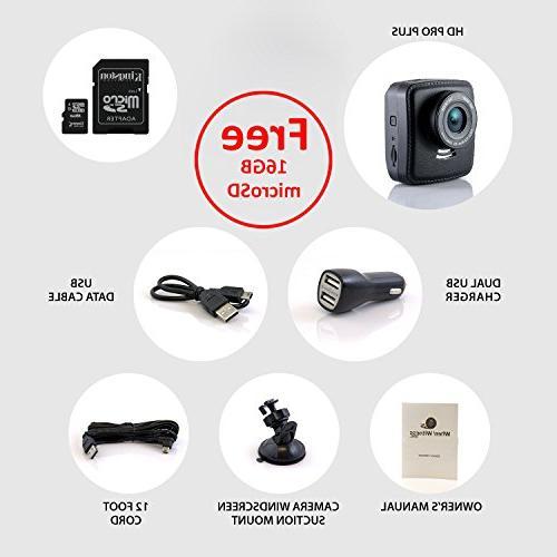 WheelWitness Dash Cam HD PRO Plus - Premium Dash & GPS, Sony Sensor, Dashboard DVR, USB Charger, + Free