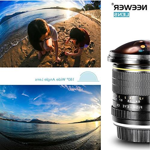 Neewer 8mm Aspherical HD Fisheye for with Removable Lens Carrying Bag