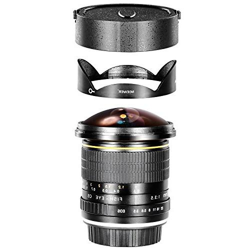 Neewer Pro 8mm f/3.5 Aspherical Fisheye Lens for with Removable Hood Carrying