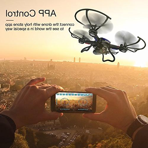 Holy F181W WiFi FPV Drone Wide-Angle HD Live Video Quadcopter Altitude Hold, Gravity Function, RTF to for Compatible with
