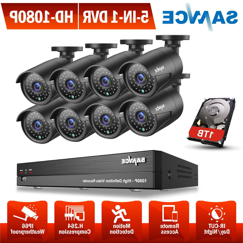 SANNCE Full 1080P HD Video 5IN1 8CH DVR Home Surveillance Ca