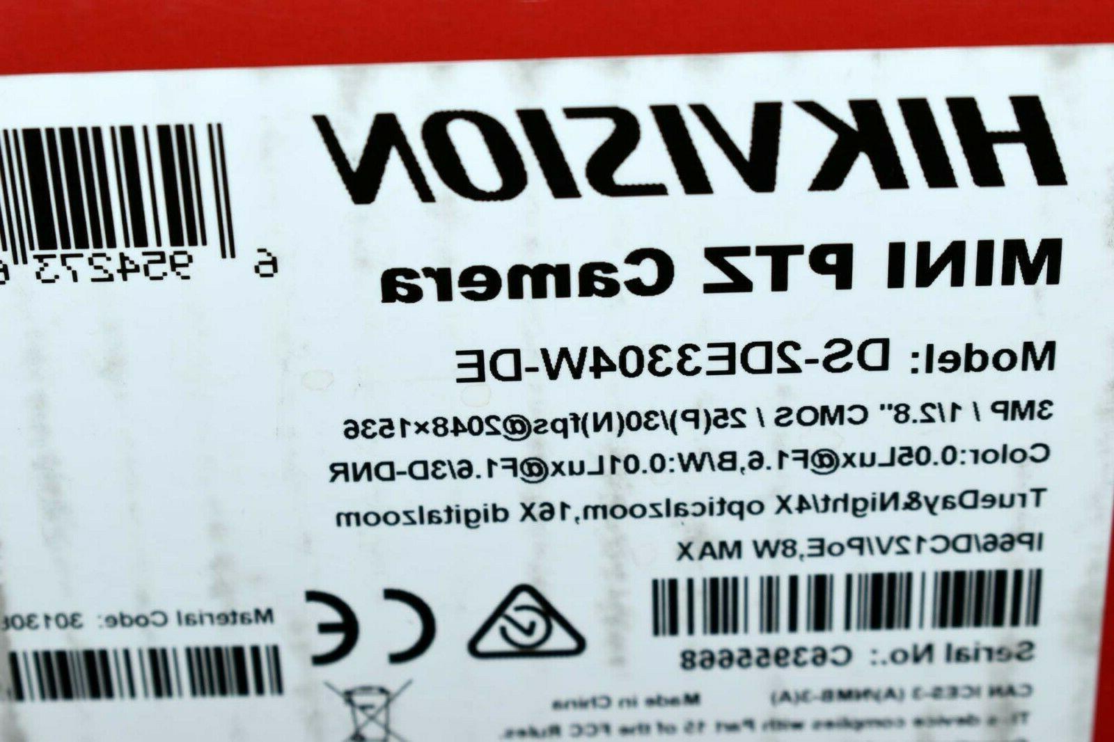 New DS-2DE3304W-DE 3MP Mini PTZ 4X Zoom Dome IP Camera