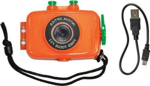 new int00181 duo sport action camera orange