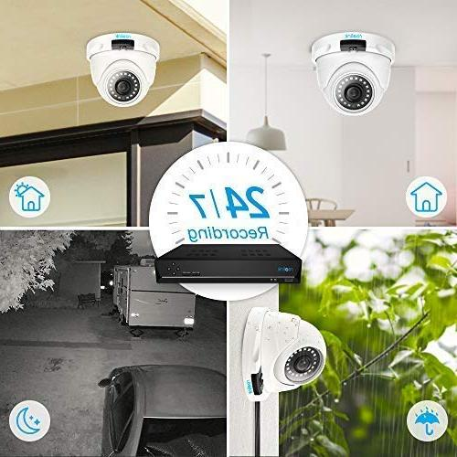Reolink 4MP 8CH Video Surveillance System, 4 x PoE Supported Channel Security w/ HDD Recording RLK8-420D4