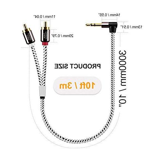 10 Feet 3.5mm Male to Auxiliary Stereo Audio Splitter for Smartphones, MP3, Tablets, Theater,HDTV,3m