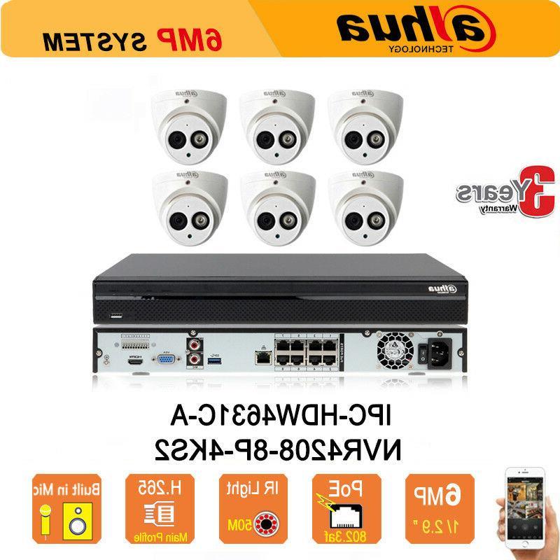 Dahua Security System 6MP HD POE Night IR 50M IP Cameras & 8