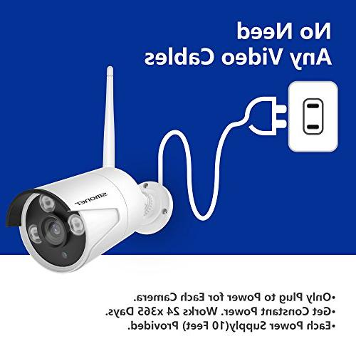 Wireless Security 4CH HD System,4pcs HD Bullet Cameras,Support Motion Alarm & iOS or Android Hard Drive