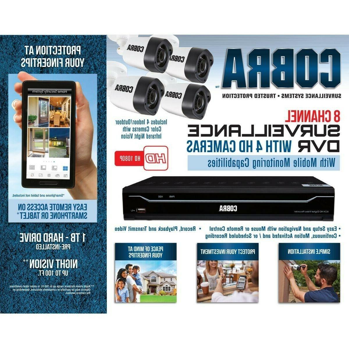 DVR w/4 Cameras & Mobile Monitoring