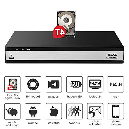 ZOSI Video Surveillance System,16 DVR 4TB Recorder and 16 Outdoor/Indoor CCTV Bullet Camera 1080p with 100ft Long Vision and