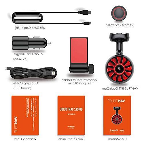 VANTRUE T1 WiFi Super Capacitor Cam Super HD 1920X1080P Camera Dash w/ADAS, Night Mode, Amba A12, Detection, Support 256GB