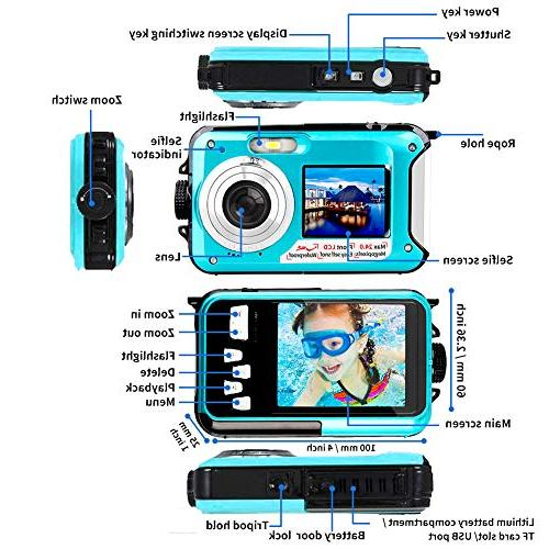 Underwater Camera Waterproof Digital Camera 1080p Selfie Dual Screen Video Recorder and Shoot Digital