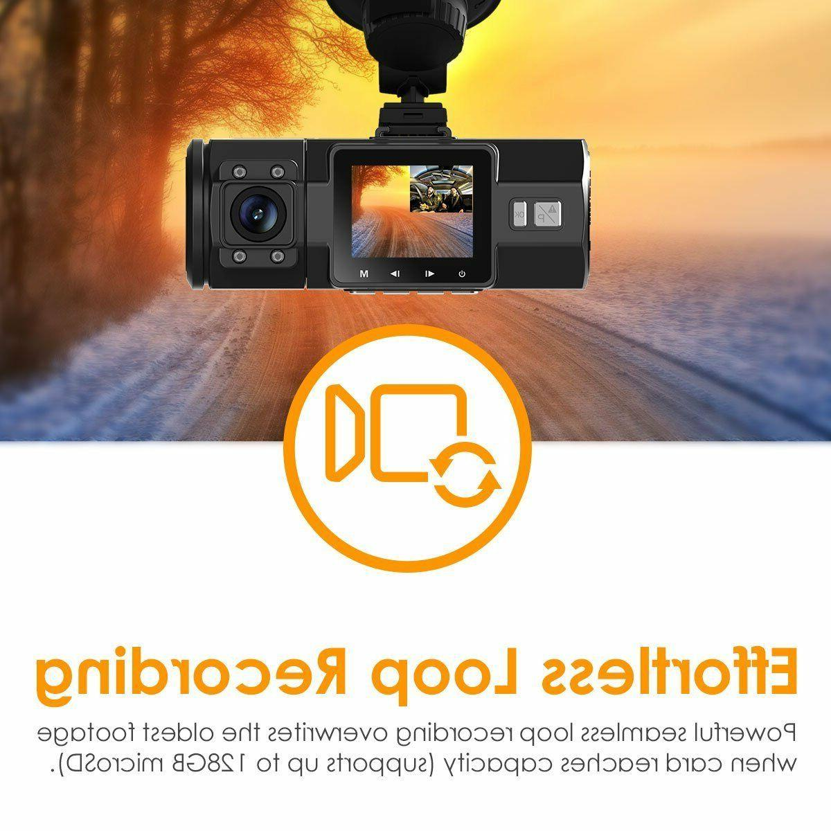 UPGRADED Vantrue N2 PRO-Dual Dash Cam-Infrared Vision 256GB Support Mount