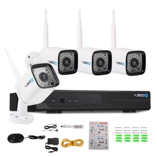 Wireless 4CH WIFI HD Outdoor Cameras System