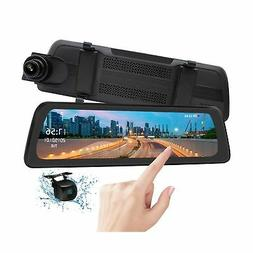 "Mirror Dash Cam Backup Camera 9.88"" Full HD Touch Screen Car"