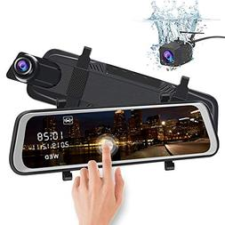 junsun Mirror Dash Cam Backup Camera 10 Inch Touch Screen 10