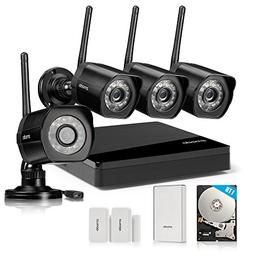 Zmodo All-in-One Kit 4CH NVR 720p HD WiFi Day Night Home Vid