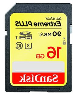 SanDisk Extreme Plus SDHC UHS-I/U3 16GB Memory Card Up to 90