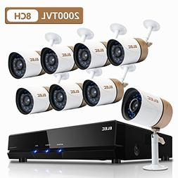 ELEC Surveillance System,1080N 8Channel HD 2000TVL CCTV Indo