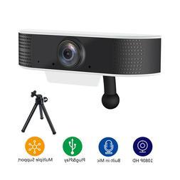 FDBRO USB Plug Play Web Webcam with Tripod Full HD 1080P Cam