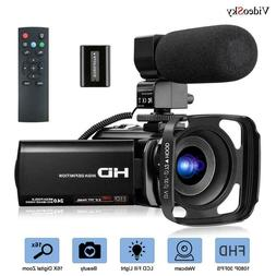 Video Camera Camcorder With Microphone Fhd 1080p 30fps 24mp