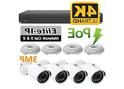Wide Angle Outdoor Surveillance Camera Kit - 4 HD Weather Re