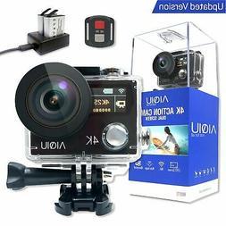 AIQiu 4K WiFi Action Camera Dual Screen Waterproof Camcorder