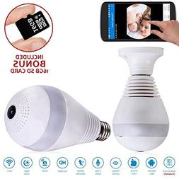 WiFi Light Bulb Security Camera - Bonus 16GB SD Card - 1080P