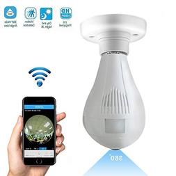 960P Wifi Wireless IP Bulb Camera with Fisheye Lens 360° Pa