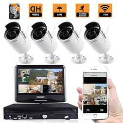 ZY 4CH HD WiFi Wireless Indoor Outdoor Home Security Camera