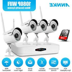 ANNKE Wireless 1080P 4CH NVR Kit 2MP HD CCTV IP Security Cam