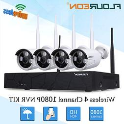 Wireless Security Cameras System, FLOUREON 4CH 1080P HD WiFi