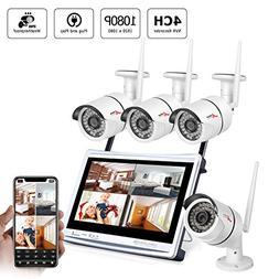 Wireless Security Camera System,ANRAN 4CH 1080P Video Securi