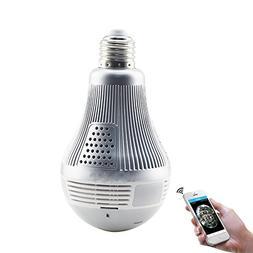 IP Camera,Wireless 3MP VR Panoramic Bulb Light,1080P HD Mini