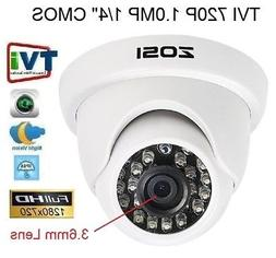 "ZOSI HD 720P TVI 1/4"" 24 IR LED Waterproof Home Security Day"
